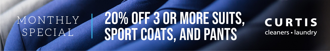 20% off 3 or more suits, sport coats, and pants